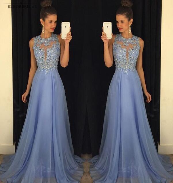 A190 סקסי O צוואר חרוזים קו שיפון שמלה לנשף אפליקציות אור כחול שמלות נשף 2018 משפט רכבת סקסית ללא משענת לנשף שמלות