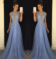 A190 Sexy O Neck Beaded A Line Chiffon Prom dress Appliques Light Blue Prom Dresses 2018 Court Train sexy backless Prom Gowns