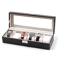 FANALA Watch Box 6 Grid Leather Watch Winder Boxes Case Box for Watches Jewelry Leather Watch Display Storage Holder Organizer