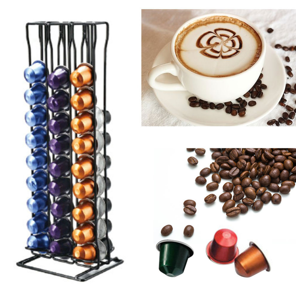 1pc Coffee Capsule Rack Capsule Stand For Nespresso 60 Capsules capsulas Storage Container Black Plastic Coffee Pod Holder B4 in Coffeeware Sets from Home Garden