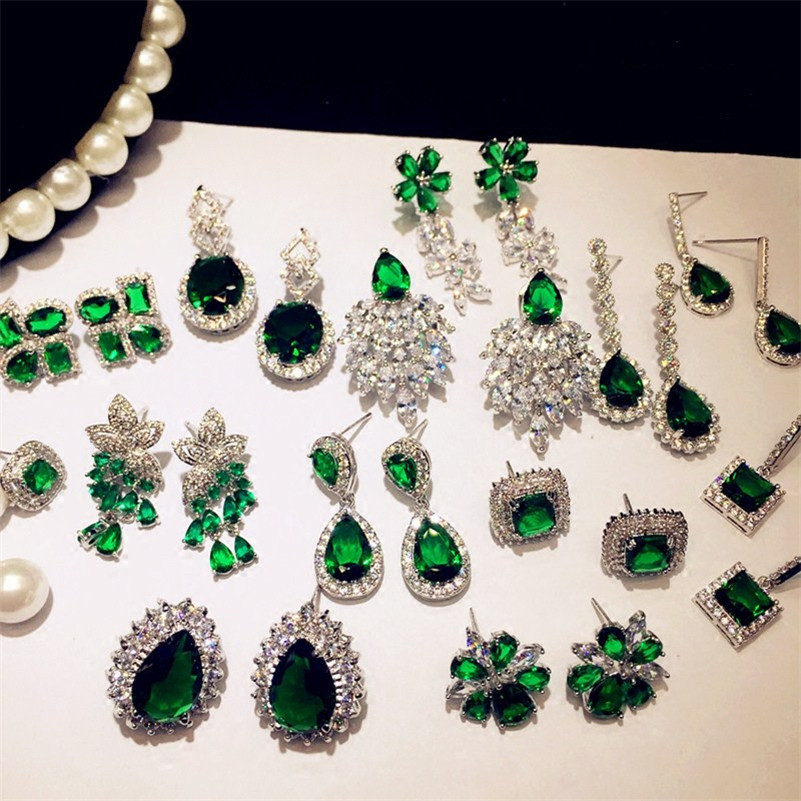 Vintage Emerald Drop Earrings For Women 925 Sterling Silver Luxury Green Cubic Zirconia Fine Jewelry Charms Accessories