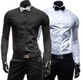 new 2015, men's shirts, fashion leisure long-sleeved shirts, banquet, high quality, fast shipping/lowest price, plus a bow tie