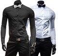 Nuevo 2015, camisas de hombre, moda ocio camisas de manga larga, banquete, alta calidad, envío rápido / precio más bajo, más atan una pajarita