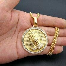 Hip Hop Iced Out Betende Hände Anhänger Halsketten Für Frauen Und Männer Gold Farbe Edelstahl Runde Schmuck Dropshipping