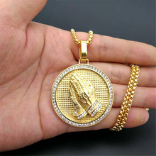 Hip Hop Iced Out Praying Hands Pendant Necklaces For Women And Men Gold Color Stainless Steel Round Jewelry Dropshipping