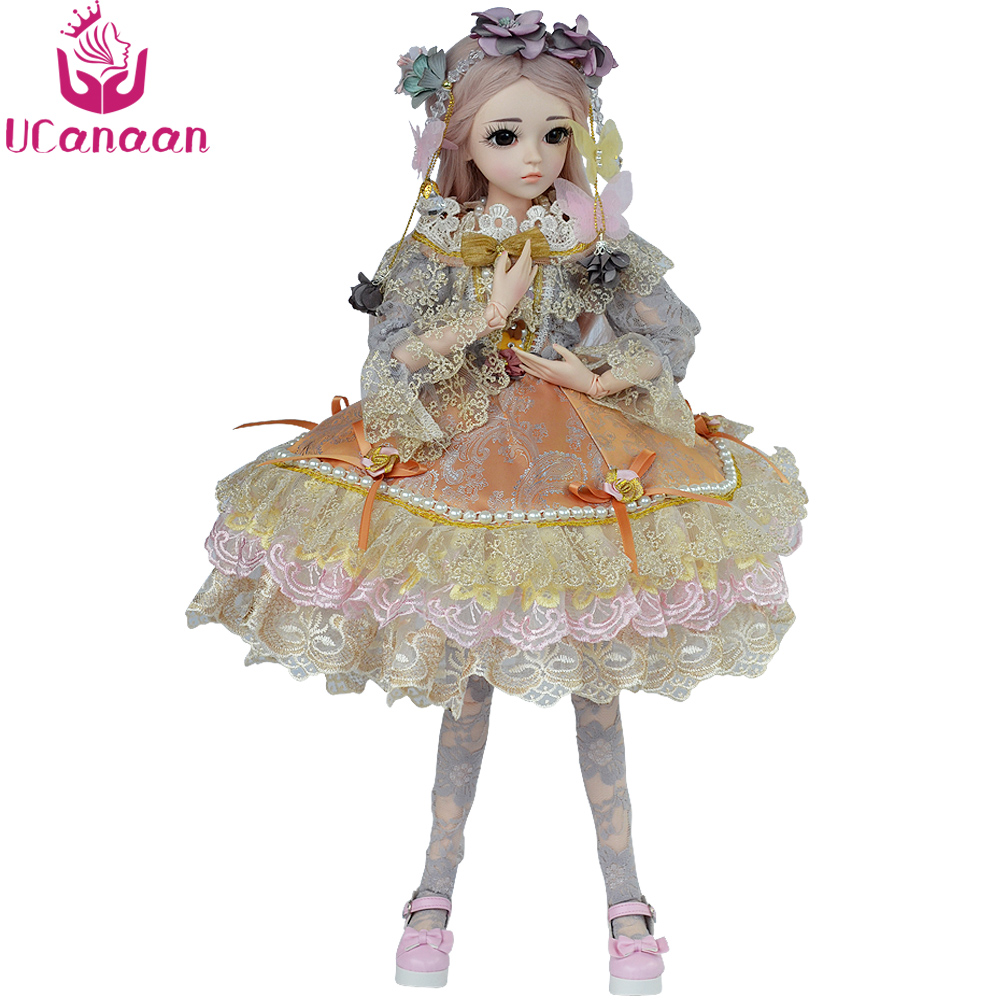 все цены на UCanaan 1/3 BJD Doll 18 Ball Jointed Dolls Girl Reborn Silicone Kids Toys With All Outfits DIY Makeup SD Dolls онлайн