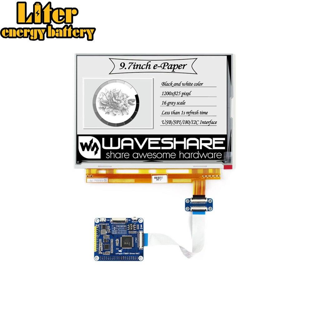 Waveshare 1200*825, chapeau d'affichage e-ink 9.7 pouces pour Raspberry PiZero/Zero W/Zero WH/2B/3B/3B +, interface USB/SPI/I80/I2C, IT8951 cont