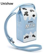 Unishow impressão friut leite mulheres sacos de ombro mini telefone carteira sacos pequeno couro do plutônio feminino crossbody saco