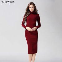 2017 Autumn Winter Turtlenck Sweater Dress Women Long Sleeve Sexy Slim Long Knitted Dresses Women Pencil