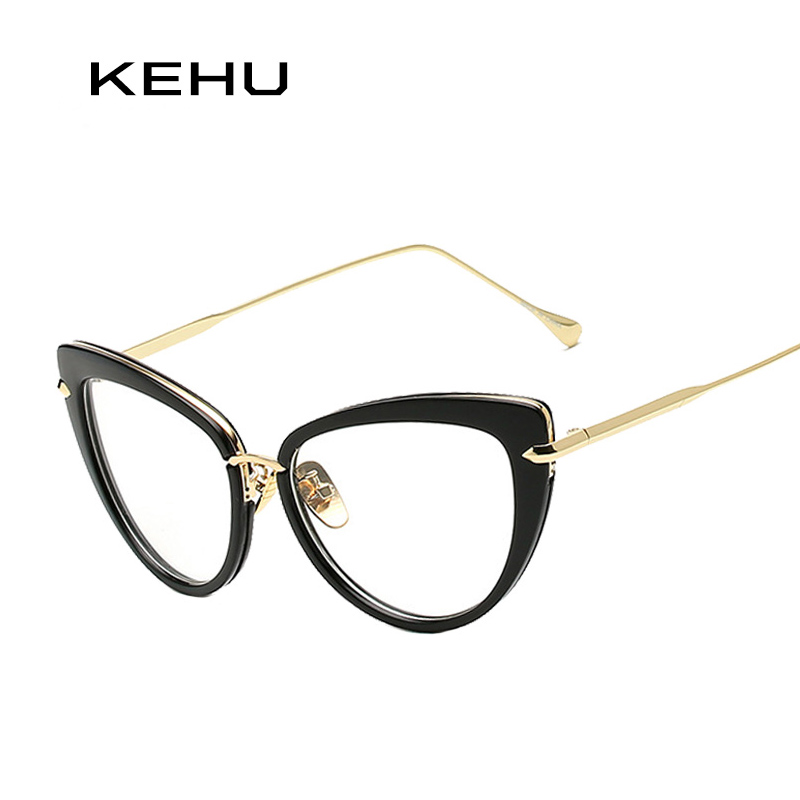 Unique Cat Eye Glasses Frame Vintage : KEHU Women Vintage Cat Eye Glasses Brand Designer Metal ...