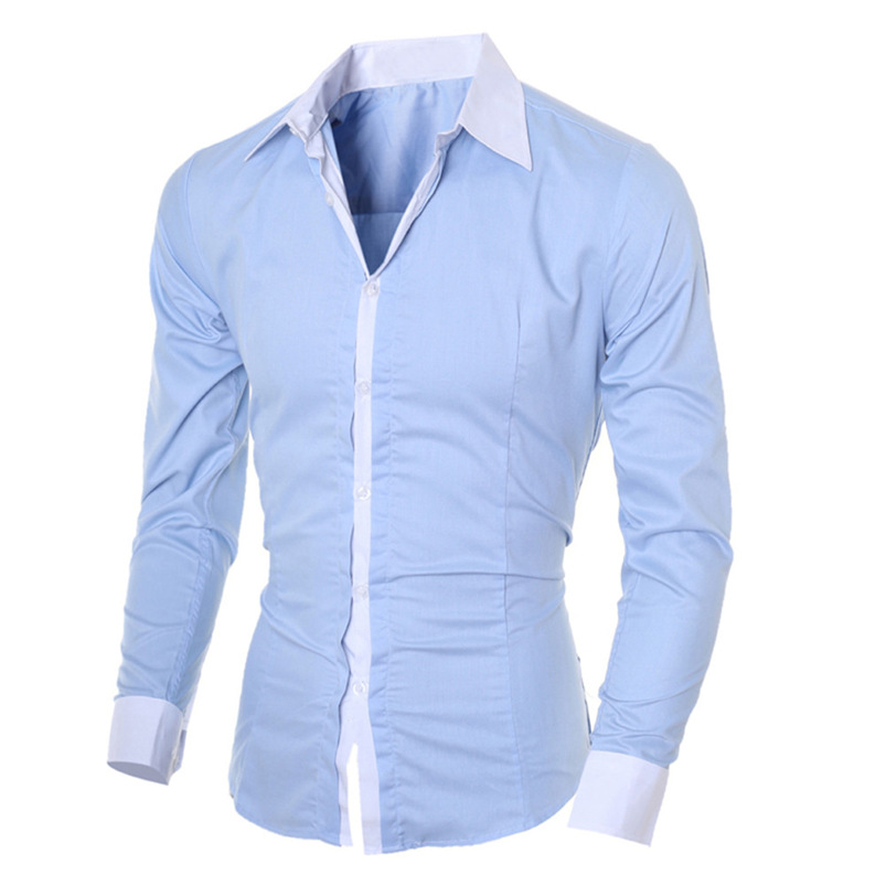 2018 shirt Men Summer Brand Personality Long Sleeve Slim Fit Male Basic T Shirt Blouse Top Size M-XL camisa masculina #FM21 (1)
