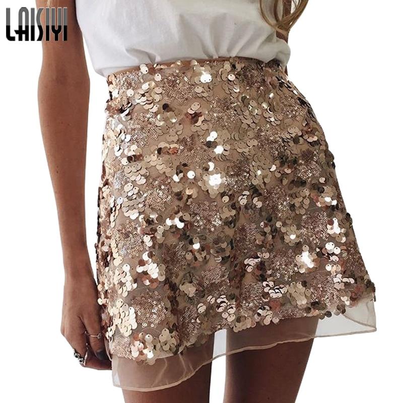 LAISIYI Gold Sequin Mesh Mini Skirts Womens Christmas High Waist Skirt Zipper Casual Short Party Beach Black Skirt ASSK20005