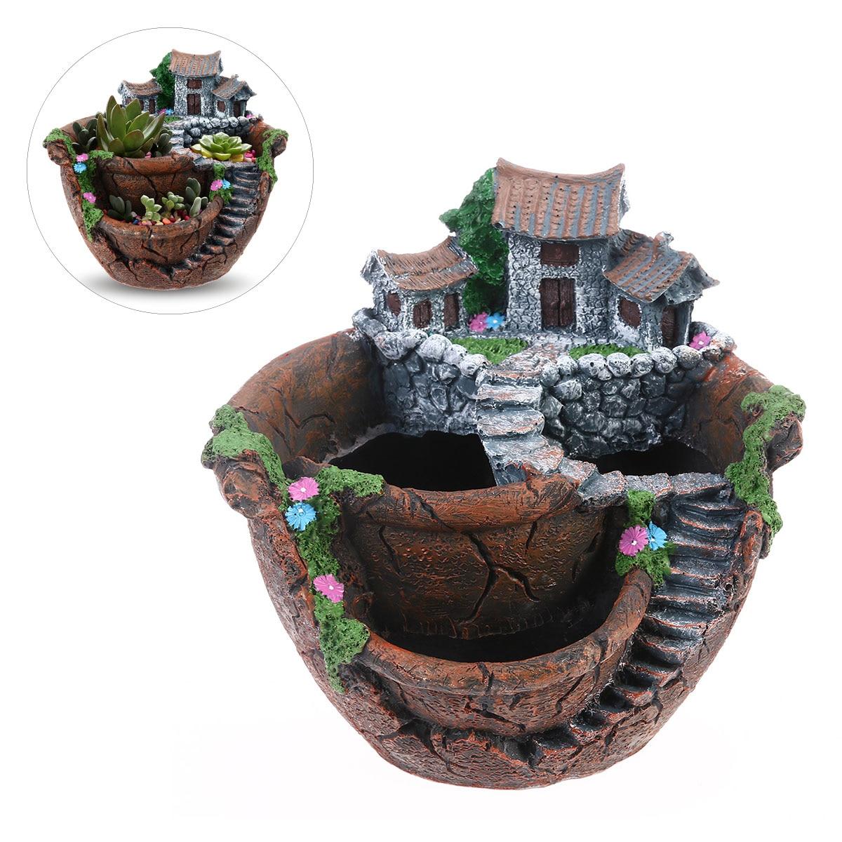 Micro Landscape Artificial Flowers Succulent Plants Pot Tiny Creative Flower Pot Holders Sweet House Garden Decoration