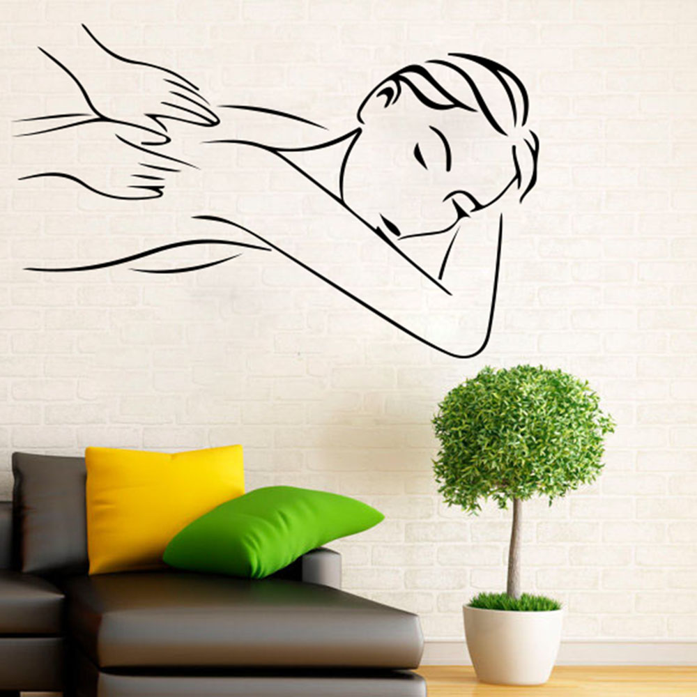 Beauty Salon Spa Massage Girl Relax Window Wall Decal Woman Fashion Sticker Vinyl Decor Mural Art