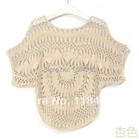 fe8c8d8188 Womens Lace Tunics Swimsuit Cover Up Beach Dress Hairpin Crochet Cutwork  Cape Sleeves Blouse