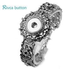 P00714 Newest Snap Button Bracelet&Bangles Antique Silver Plated Charm Bracelet For Women Fit 18mm Rivca Snap Button Jewelry