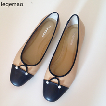 Shoes - Womens Shoes - Fashion Luxury Women Flats Bowtie Pearls Shallow Slip-on Genuine Leather Shoes Ladies Brand Casual Ballet Shoes Size 35-42