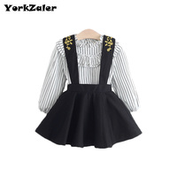 Autumn Clothing Set Girls Clothes Striped Shirt + Black Overall Skirt Children 2 pcs Girls Clothing Suits Drop Shipping
