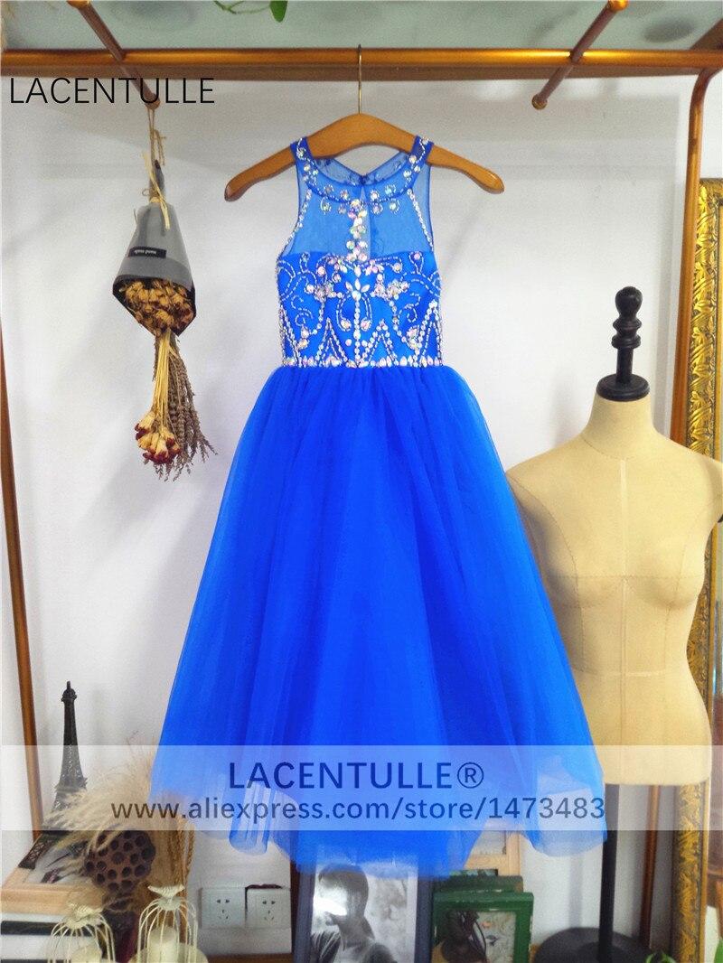 Sleeveless Sheer Neck Royal Blue   Flower     Girl     Dress   with Beads Crystaled   Girl   Pageant   Dress