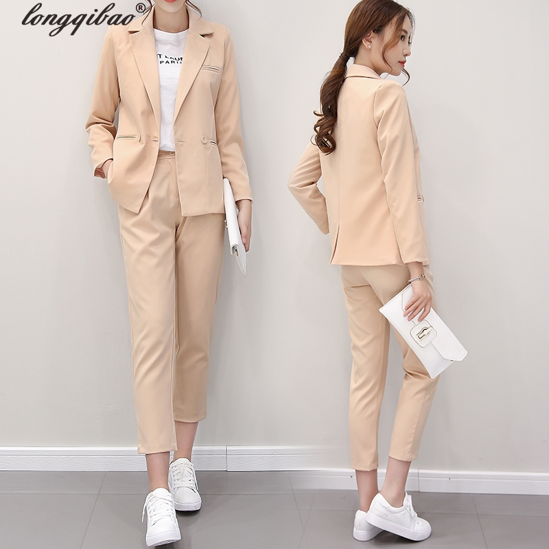 Fall fashion suit suit female career suit jacket and long sections temperament casual two-piece pants tideThe New