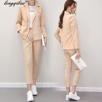 Fall fashion suit suit female career suit jacket and long sections temperament casual two piece pants tideThe New