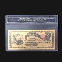 Красивые американские Золотые банкноты 1875, банкноты на 2 доллара в 24-каратном золоте, поддельные бумажные деньги с рамкой COA для коллекции
