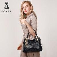 FOXER бренд Для женщин из натуральной кожи Сумки одноцветное сообщение сумки для женщин высококачественные дамские сумки