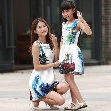 Girls Party Princess Dress Summer Sleeveless Vest Dress Vestidos Vintage Woman tutu Short Dresses Mother & Daughter Print Dress
