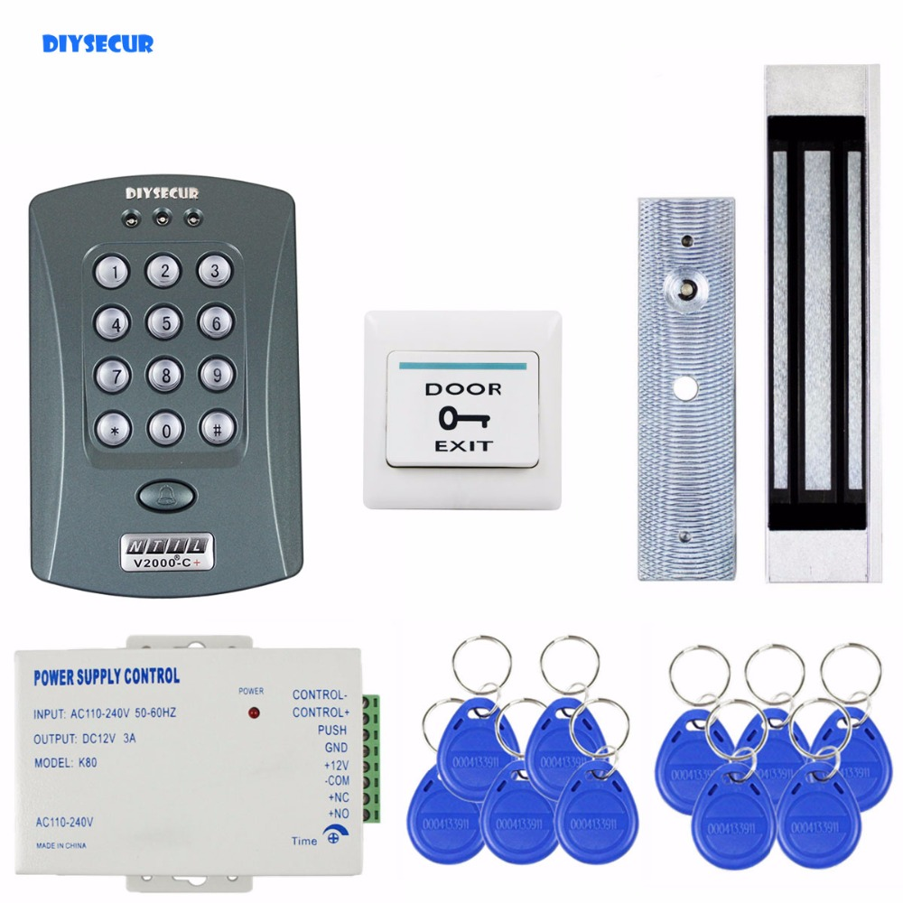 DIYSECUR Magnetic Lock 125KHz RFID ID Card Reader Password Keypad Access Control System Security Kit Door Bell Button V2000-C diysecur touch panel rfid reader password keypad door access control security system kit 180kg 350lb magnetic lock 8000 users
