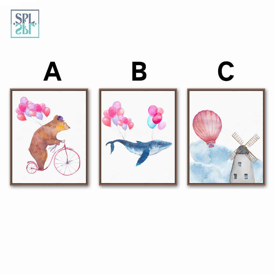 SPLSPL Rahmenlose Wand Kunst Malerei Bär und Whale Cartoon Tier Leinwand Bild Für Kinder Zimmer Dekoration öl leinwand bilder
