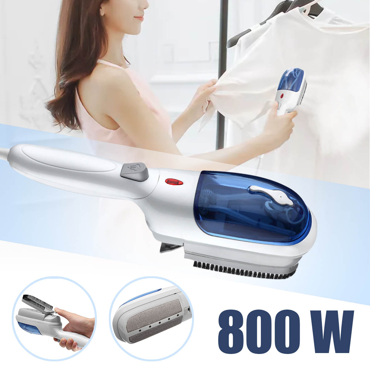 800W 110V Portable Handheld Garment Fabric Laundry Cloth Wrinkle Brush Steamer Electric Steam Iron Steamer Eliminate Wrinkles