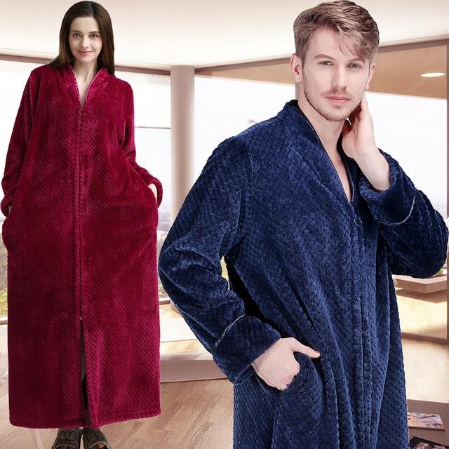Women Winter Plus Size Extra Long Thermal Nightgowns Thick Grid Flannel  Zipper Sleepshirts Pregnant Warm Sleepwear ff0f66399