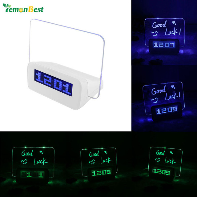 Modern Interior Decoration Multi Function LED Fluorescent Digital Alarm Clock With Message Board USB 4