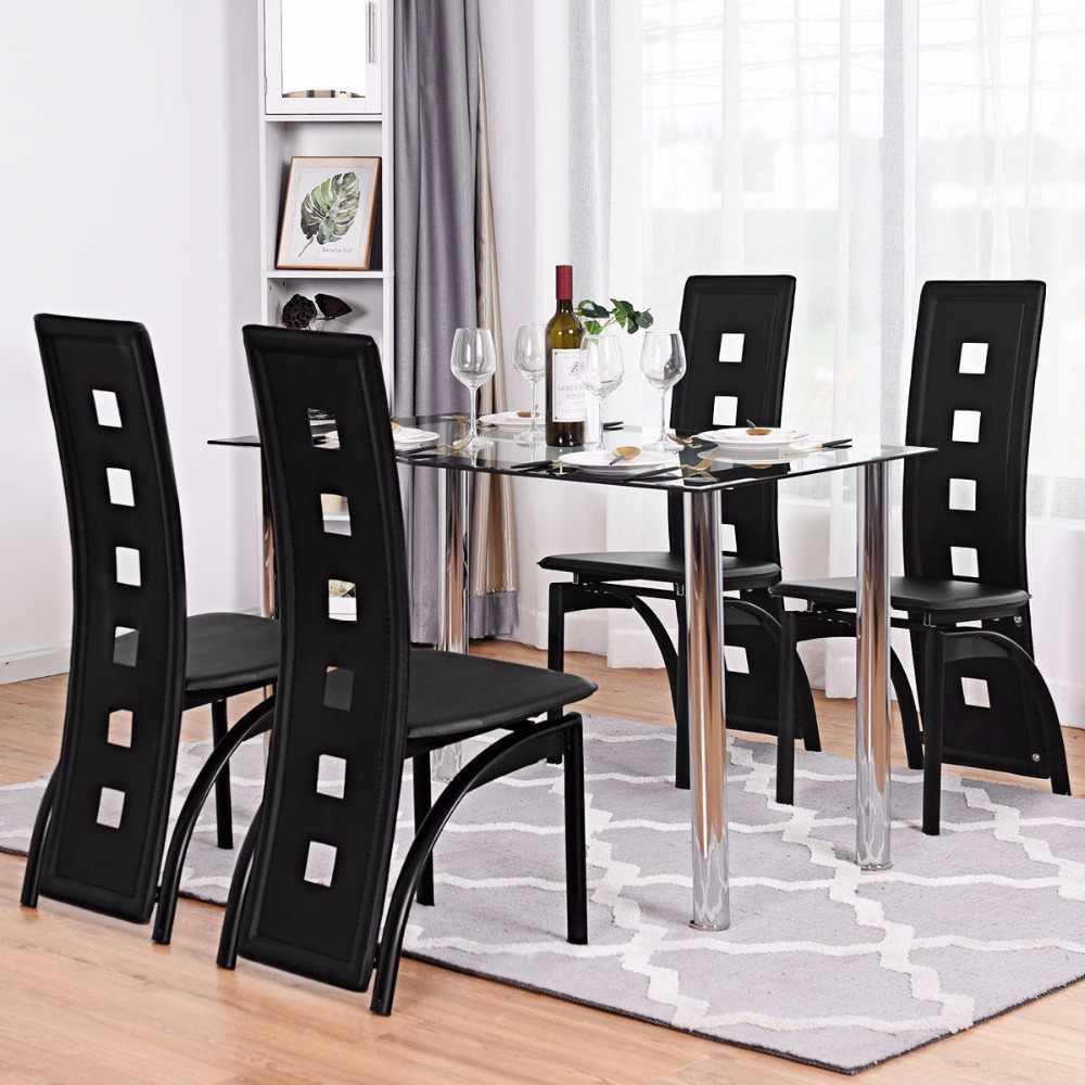Tremendous Giantex Set Of 4 Dining Chairs Pvc Leather Iron Frame High Creativecarmelina Interior Chair Design Creativecarmelinacom