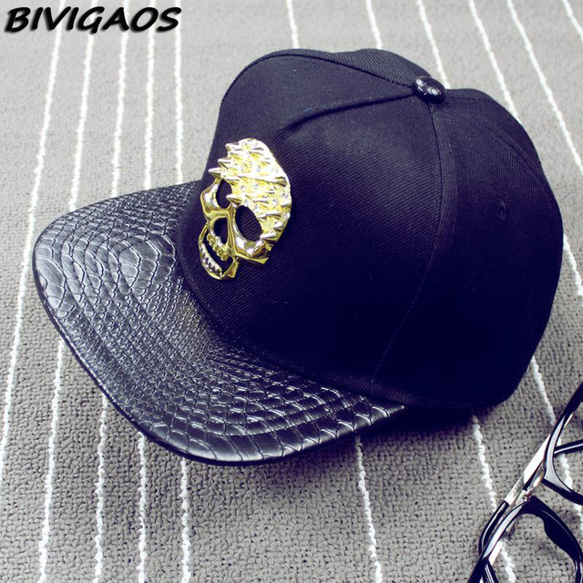 89c909e6455 2016 New Fashion Men Cap Metal Skull Snakeskin Leather Hip Hop Cap Baseball  Caps Bone Snapback Hats For Men Women Black Gold