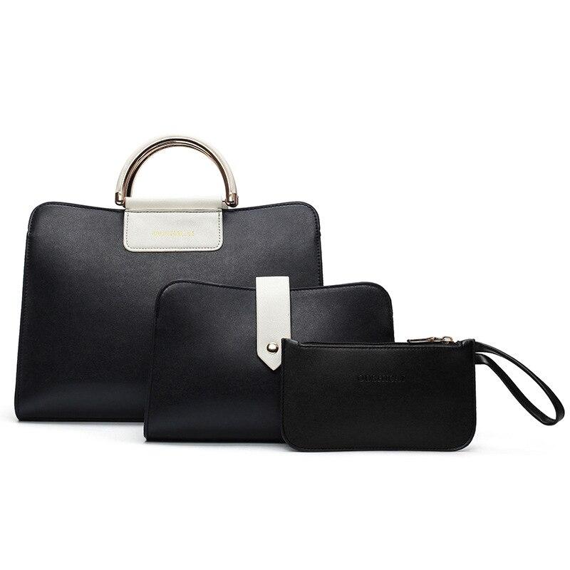 ФОТО 2017 New Fashion Brand Design 3Sets Women's bag Tote Bags Luxury Metal Handle Handbag Shoulder Messenger bags for Girls Ladies