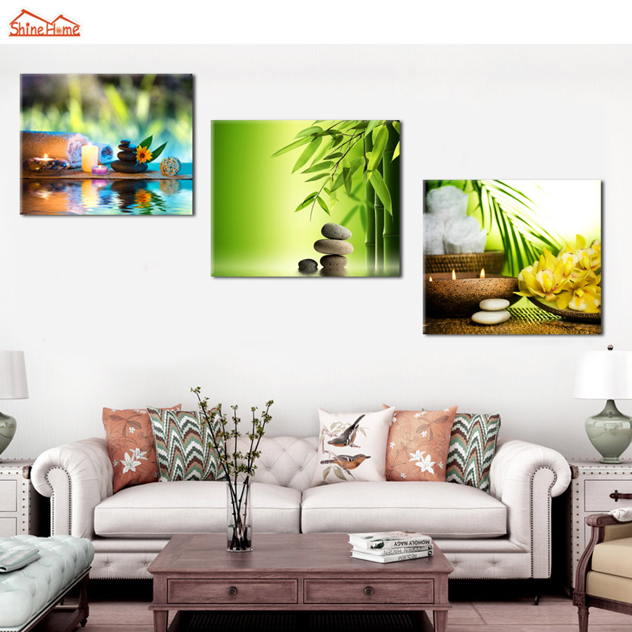 Shinehome 4pcs Wall Art Canvas Painting Printing Spa Yoga: ShineHome 3pcs/set Canvas Picture Prints Artwork For Spa