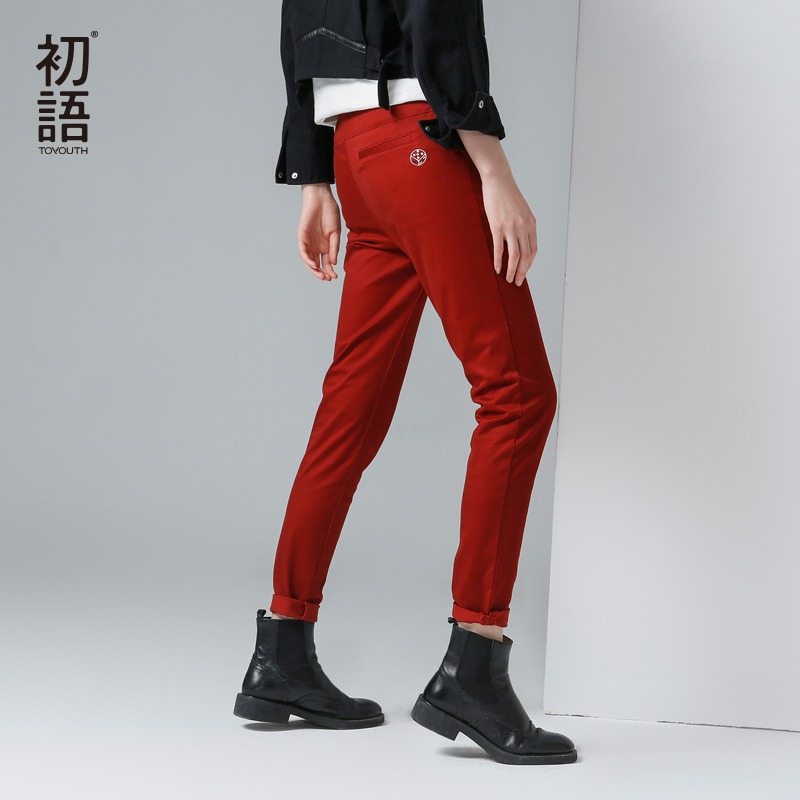 Toyouth Women Solid Pants 2017 Winter New Embroidery Slim Pencil Pants Female Slim All Match Casual