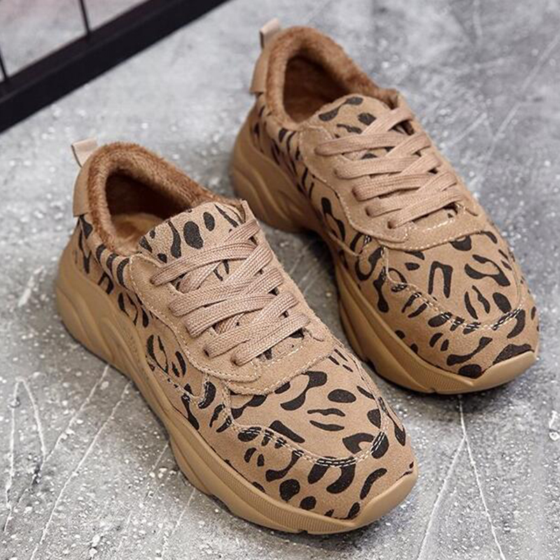 Moxxy Fashion Leopard Print Shoes Woman Winter Chunky Sneakers Women  Platform Sneakers Casual Plush Shoes trainers Autumn Warm ab388c4286d6