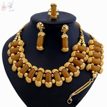 YULAILI 2018 New Exquisite Fashion Pure Gold Color Jewelry Set High Quality Nigerian Wedding African Beads Accessories