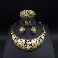 Nova Moda Contas Conjuntos de Jóias de ouro Dubai Africano-cor Casamento Nupcial mulheres Colar exaggerate ear cuff Brinco pulseira anel