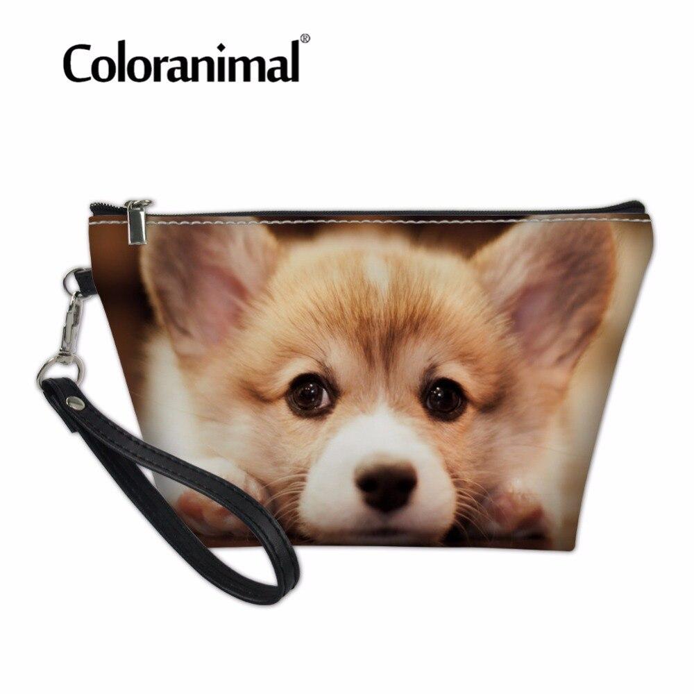 Coloranimal Welsh Corgi Cosmetic Case Luxury Design Leather PU Makeup Organizer Bag Women's Casual Handbags Puppy Dog Print Bags