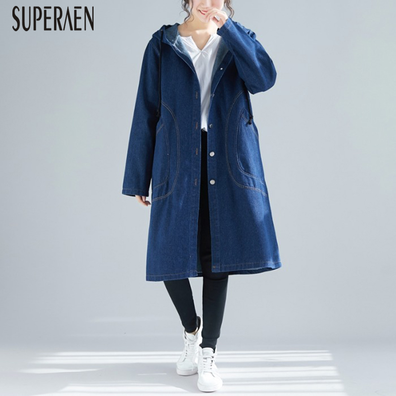 SuperAen Pluz Size Pocket Denim Windbreaker Female Autumn and Spring New 2019   Trench   Coat for Women Hooded Solid Color Coats