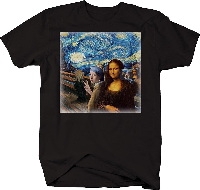 2019 Hot sale Da Moda Mona Lisa Estrelado Cavaleiro Arte Grupo Selfie Telefone Celular Meme Engraçado Tshirt da camisa