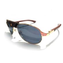Carter Glasses Men Sunglasses Aviator Santos Shades Metal Glasses Frame Wood Temples for Driving Luxury Eyeglasses Oculos De Sol