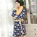 Roupão de banho das mulheres de malha de algodão mulheres robe pijama agasalho grosso longo chuveiro spa robe senhora homewear XXL