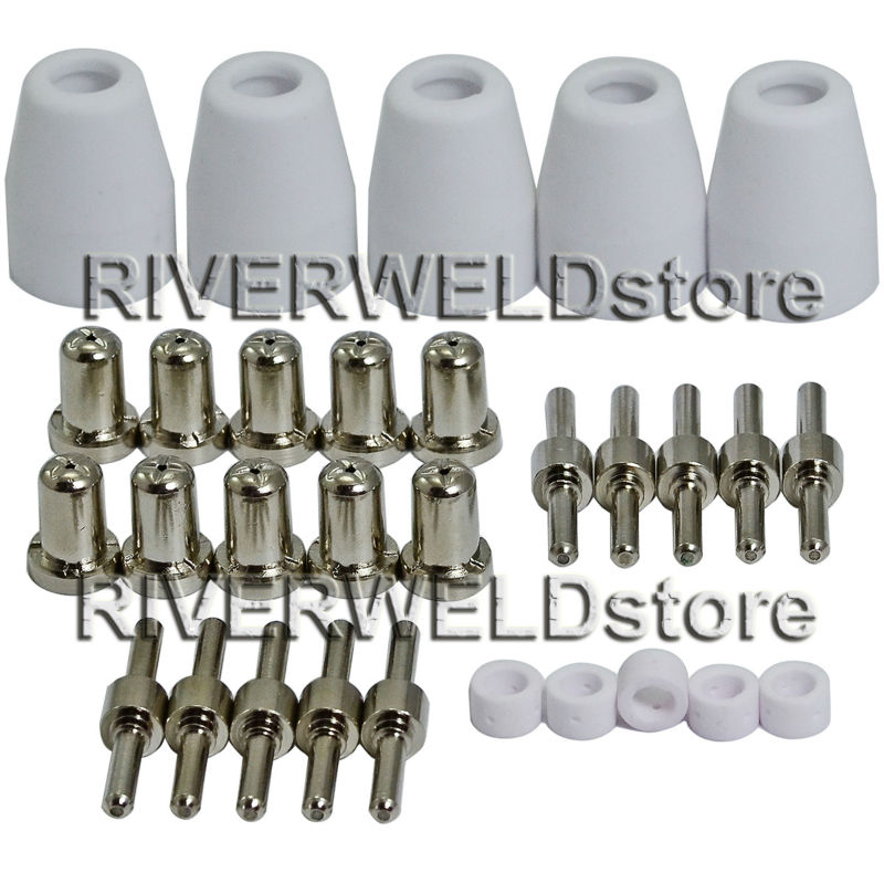 LG-40 PT-31 Plasma Cutter Cutting Torch Consumables Accessories Extended Nickel-plated Tips/Nozzle Electrodes Shield Cup,30pcs 130pcs pt31 lgk 40 plasma torch kits nickel plated extented nozzle tip electrode