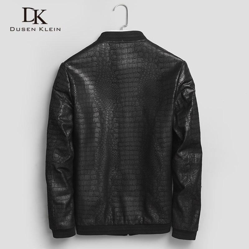 Erkek Kıyafeti'ten Hakiki Deri Montlar'de Marka DERİ CEKETLER formen hakiki koyun derisi palto timsah desen Dusen Klein moda deri erkek ceket ve ceket J1718'da  Grup 3