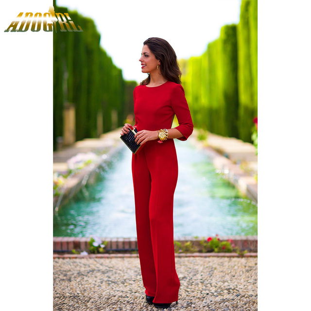 Elegant Solid Jumpsuit Women Sexy Backless Three Quarter Sleeve Slim Casual  Vintage Rompers Womens Jumpsuit Overalls 9736bd440d