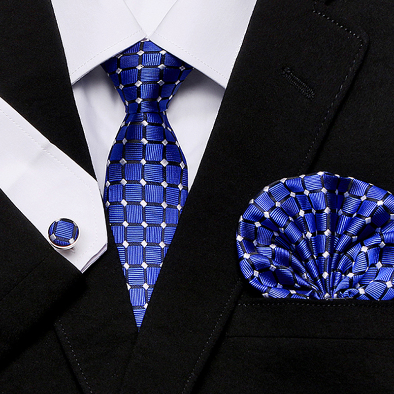 Mens Tie Skinny Blue Palid 100% Silk Classic Jacquard Woven Extra Long Tie Hanky Cufflink Set For Men Formal Wedding Party